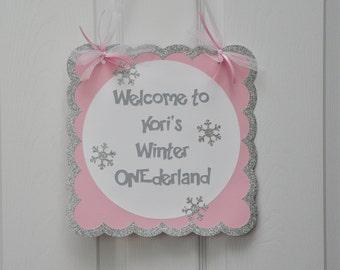Winter Onederland Door Sign Snowflake Party Door Sign