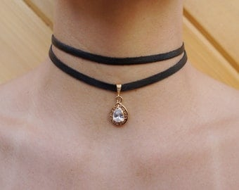 BLACK Double Wrap CZ Drop Choker