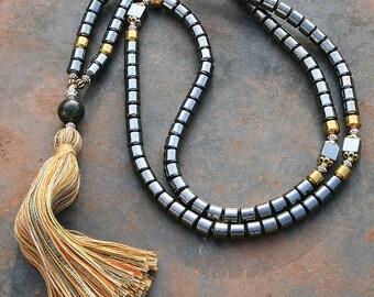 Beautiful hematite mala necklace