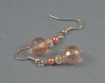 Light pink crystal and pearl dangle earrings.