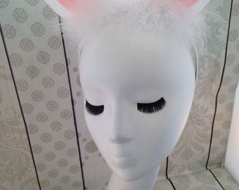 Alice rabbit ears bunny ears headband costume ears bunny ears Easter bunny ears satin headband bunny feathers