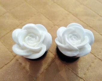White Rose Plugs sizes 2g - 1 Inch Double Flare or Single Flare