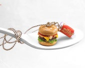 Cheeseburger Necklace, Hamburger Necklace, Soda Can Necklace, Fast Food Jewelry,Miniature Food Jewelry,Kawaii Jewelry,Polymer Clay Food