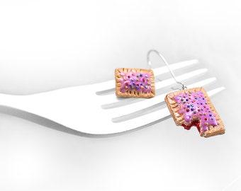 Food Jewelry Pop-Tart Earrings, Food Miniature Earrings, Miniature Poptart, Polymer Clay Earrings, Foodie Gift,Rainbow Color,Kawaii Earrings