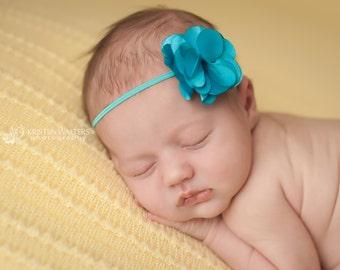 FREE SHIPPING! Newborn Headbands, Baby Headbands, Turquoise Headband, Baby Flower Headbands, Turquoise Baby Headbands, Photography Prop