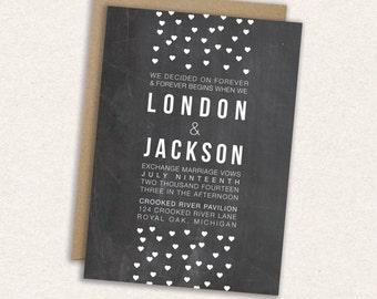 SAVE 20% // DIY Printable Wedding Invitation: Hearts - Confetti - Fallings Hearts - Modern - The London