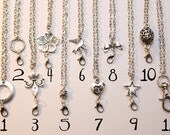 Vintage Style 24 Inch Rolo Nickel Antique Silver Chain For Charmed Sparrow / Luella Blue Pendants and Charms