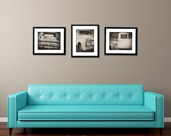 Vintage Ford Truck Art Set | Black & White 3 Photo Set | Classic Car Fine Art Photography