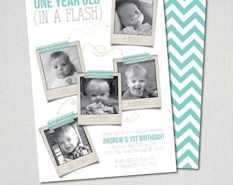 One Year in a Flash Invitation  - digital file
