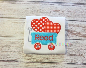 Fun Heart Wagon Appliqued Shirt - Embroidered, Personalized, Monogram, Wagon, Heart Wagon, Boys or Girls, Valentine's Day