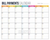Bill Payments Calendar - EDITABLE -  Personal Finance Organizing Printables - Financial Binder - INSTANT DOWNLOAD