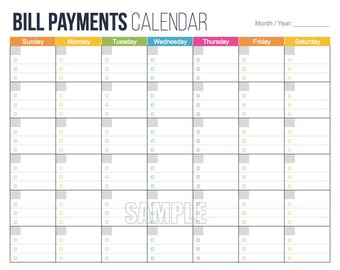 bill payments calendar editable personal finance organizing printables ...