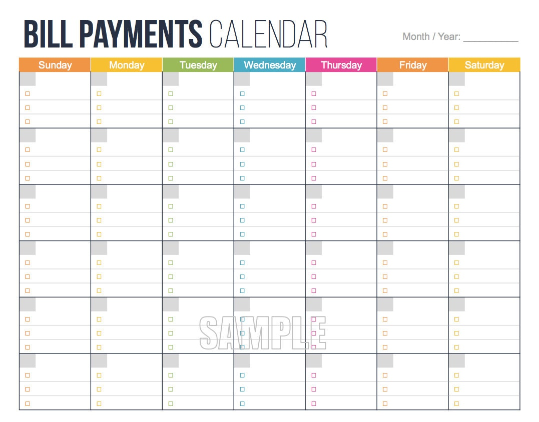 Calendar Monthly Rent : Bill payments calendar editable personal finance