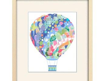 hot air balloon nursery decor, nursery art, baby boy nursery, boy nursery art, baby boy gift kids wall art, boy wall decor, nursery wall art