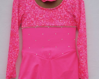 Fluorescent Pink Competition Skate Dress with Contrast Bodice & Optional Scrunchie