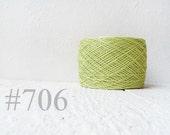 Light lime green linen crochet thread -  laceweight  linen yarn # 706