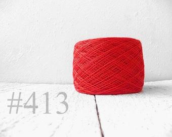 Linen crochet knitting weaving thread  - carrot red color # 413
