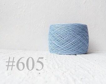 Pastel blue linen crochet thread - light blue  laceweight  linen yarn # 605