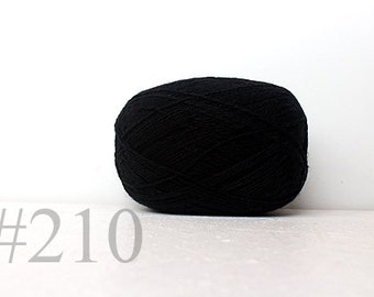 WOOL yarn 100%-knitting yarn -  black #210