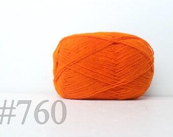 WOOL yarn 100%-knitting yarn - carrot orange #760