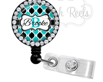 Retractable Badge Reel - Turquoise and Black Badge Reel Rhinestone Badge ID Reel, Bling Badge Reel - 1119