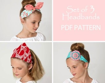 Headband pattern pdf, retro headband pattern, scarf pattern, girls sewing pattern pdf, flower headband, headband sewing pattern pdf HEADBAND