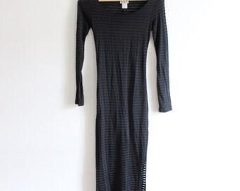 Sheer Mesh Striped 90s Body Con Maxi Dress