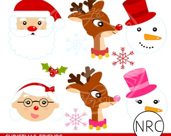 Christmas Clip Art - Cute Christmas Clipart, Santa Mrs. Claus Reindeer Snowman Holly Snowflake Clipart - Commercial Use Clipart