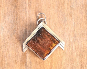 SALE - Recycled silver chevron pendant with square ceramic stone with a copper glaze