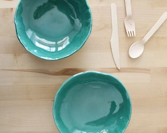 Ceramic plate set Two dark green plates Wonky handbuild plates Serving Dishes - Ready to ship