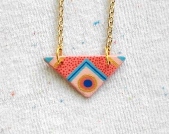 SALE Triangle Mini Pendant Necklace in Pink