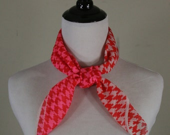 Vintage Pink Red White Houndstooth Crepe Square Scarf