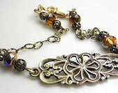 Vintage Style Bracelet  Antique Gold Flower Bracelet Victorian Style Smoked Topaz Czech Crystals Gift for her