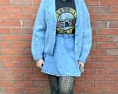 Duck Egg Blue Chunky Knit Vintage Cardigan