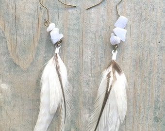 White Sands Feather Earrings with Quartz