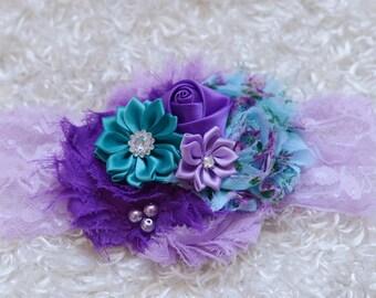 baby headband,lavender purple teal Shabby Headband,baby Headband, Baby headbands, newborn headband, flower headband, baby girl  hairbow