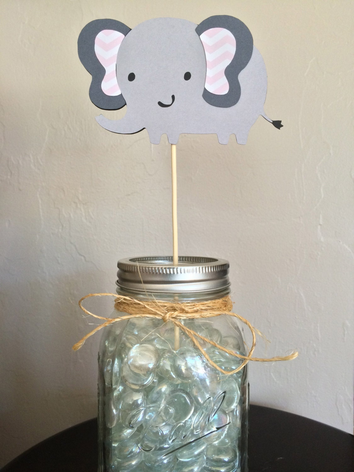 Set of gray and pink elephant centerpieces