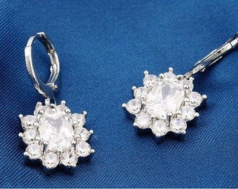 Wedding Earrings, Platinum Filled Crystal Rhinestone Bridal Earrings, Rhinestone Earrings, Platinum Filled Wedding Jewelry