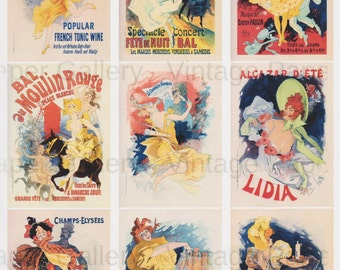 INSTANT DOWNLOAD - French Theatre Posters - Jules Cheret - 9 Printable Images - Scrapbooking - Collage - Gift Tags - Cards - Magnets