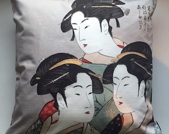 "THREE BEAUTIES | Japanese Pillow Cushion Cover Traditional Furoshiki Design 20""x20"" or 50cm x 50cm"