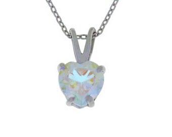 1 Carat Mercury Mist Mystic Topaz Heart Pendant .925 Sterling Silver Rhodium Finish