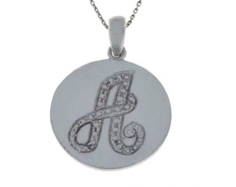 Letter A Pendant .925 Sterling Silver Rhodium Finish