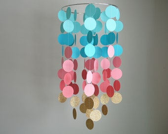 Chandelier Mobile in Turquoise/Teal /Pink Coral/Gold // Nursery Mobile - Choose Your Colors