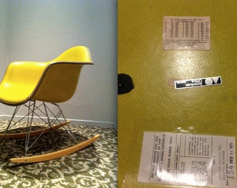 EAMES YELLOW MONOCHROME Chartreuse Green Alexander Girard Naugahyde Fiberglass  Rocking Chair Vintage Herman Miller Armshell Rocker