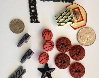 Basketball team buttons and embellishments for scrapbooking, sewing and other crafts (set1)