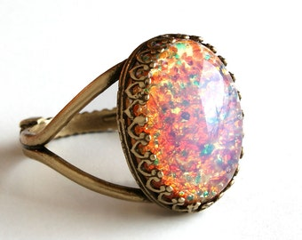 Vintage Gold Opal Ring, Pink Fire Opal Ring, Cocktail Ring, Glass Cabochon Ring, Adjustable Ring, Filigree Statement Ring BoHo Jewelry Gift