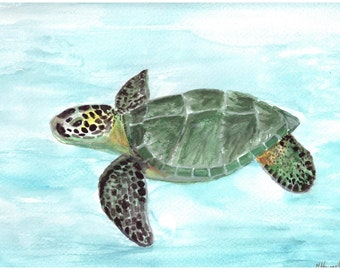Sea turtle watercolour painting original painting sealife painting turtle watercolour 12 x 9 inch