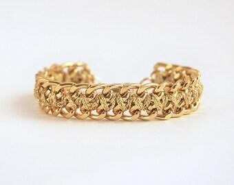Chunky chain bracelet, woven chain bracelet, golden bracelet, woven bracelet with chain