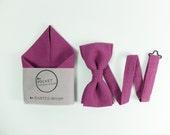 Bow Tie & Pocket Handkerchief - linen fuchsia dark pink magenta