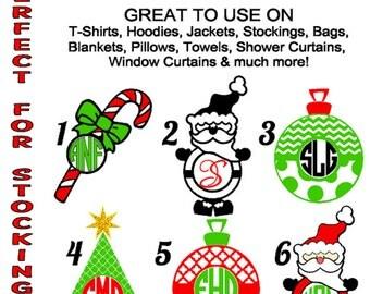 DIY Christmas Monogram Iron Ons, Personalized Iron On, Shirts, Bags, Stocking Iron On, Candy Cane, Santa, Chevron